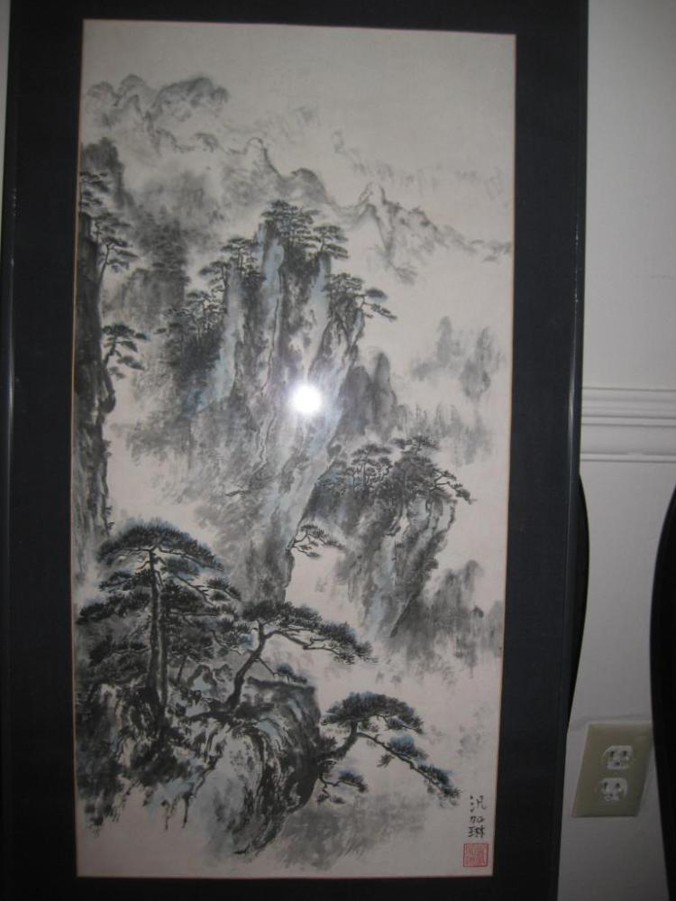 Framed Chinese watercolor painting, signed, 76 x 37 cm