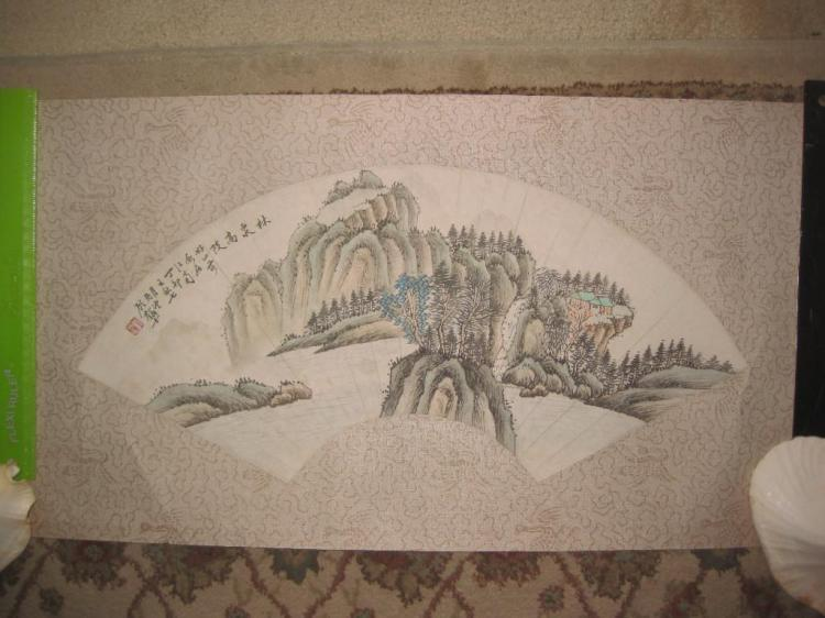 Chinese scroll fan painting on paper, Mountain scenery
