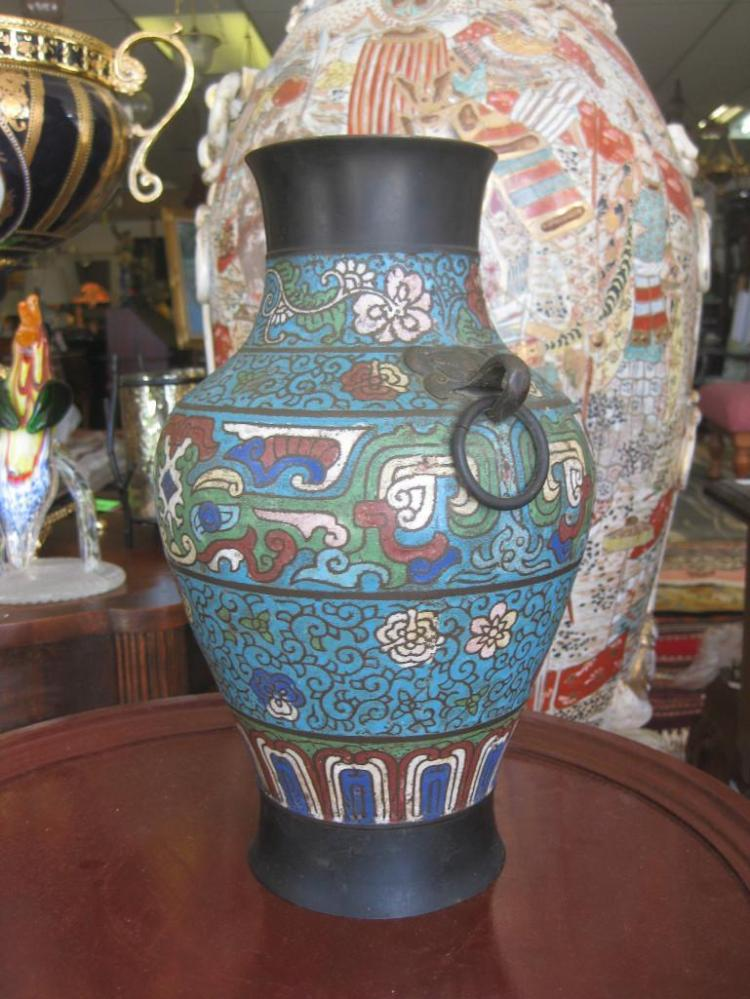 Chinese cloisonne vase, 12 in. 19th c