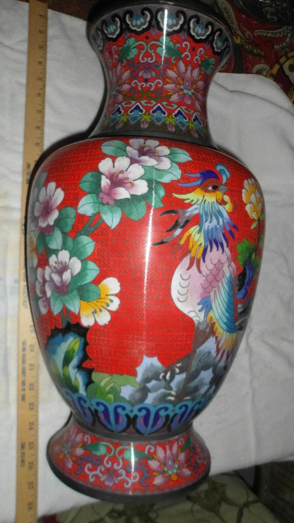 Chinese antique Cloisonne red Vase, Qing Dynasty?