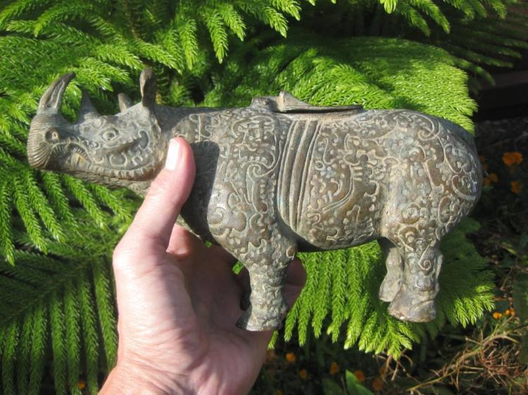 Certified Warring States Chinese Bronze Rhinoceros wine container