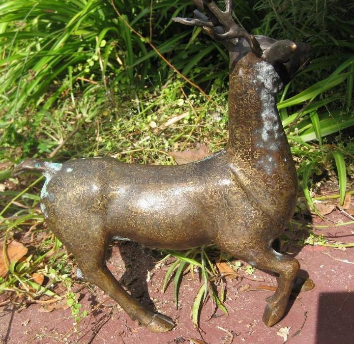Chinese Bronze Deer, Qianlong Emperor mark Qing dynasty