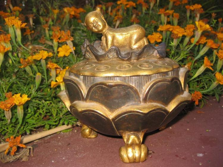 Chinese gilded bronze lotus incense burner, Qing dynasty