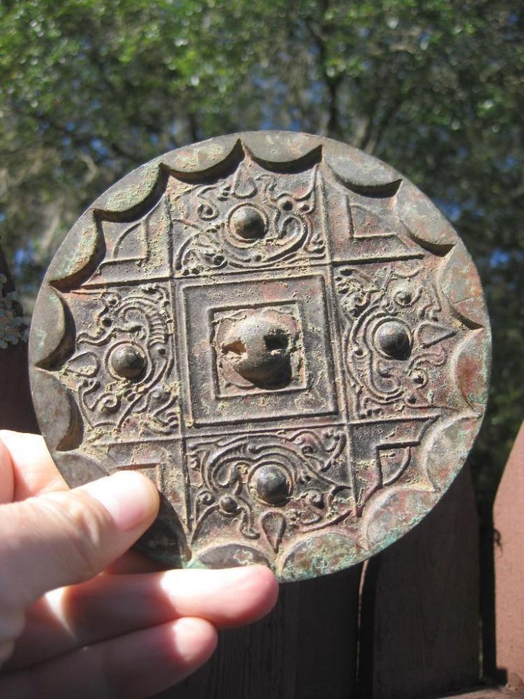 W. Han Dynasty, Chinese bronze mirror, 4 dragons, arc, 124mm