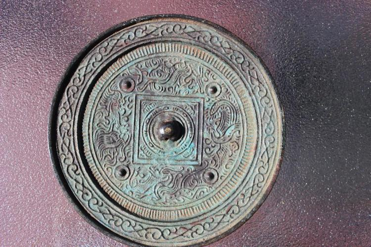 Authentic E. Tang Bronze mirror with unusual flower dcor on mirror, 135mm,