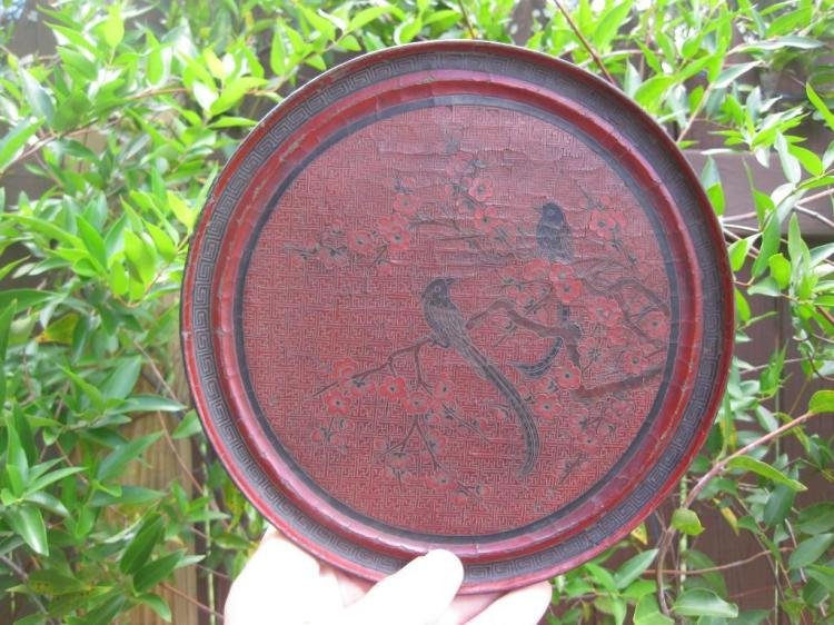 Qing Dynasty Chinese bronze laquer mirror 2 birds design