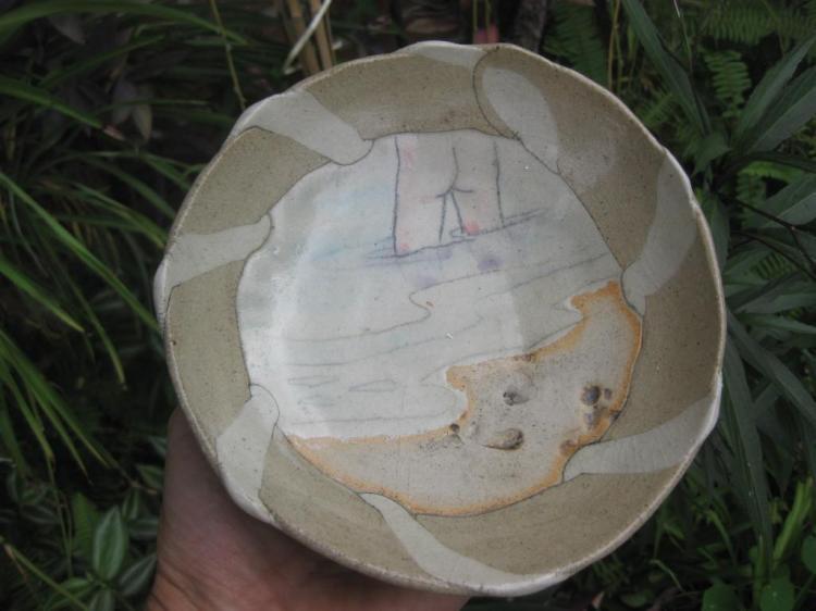 Painted & glazed pottery plate by FAYE NAKAMURA, signed