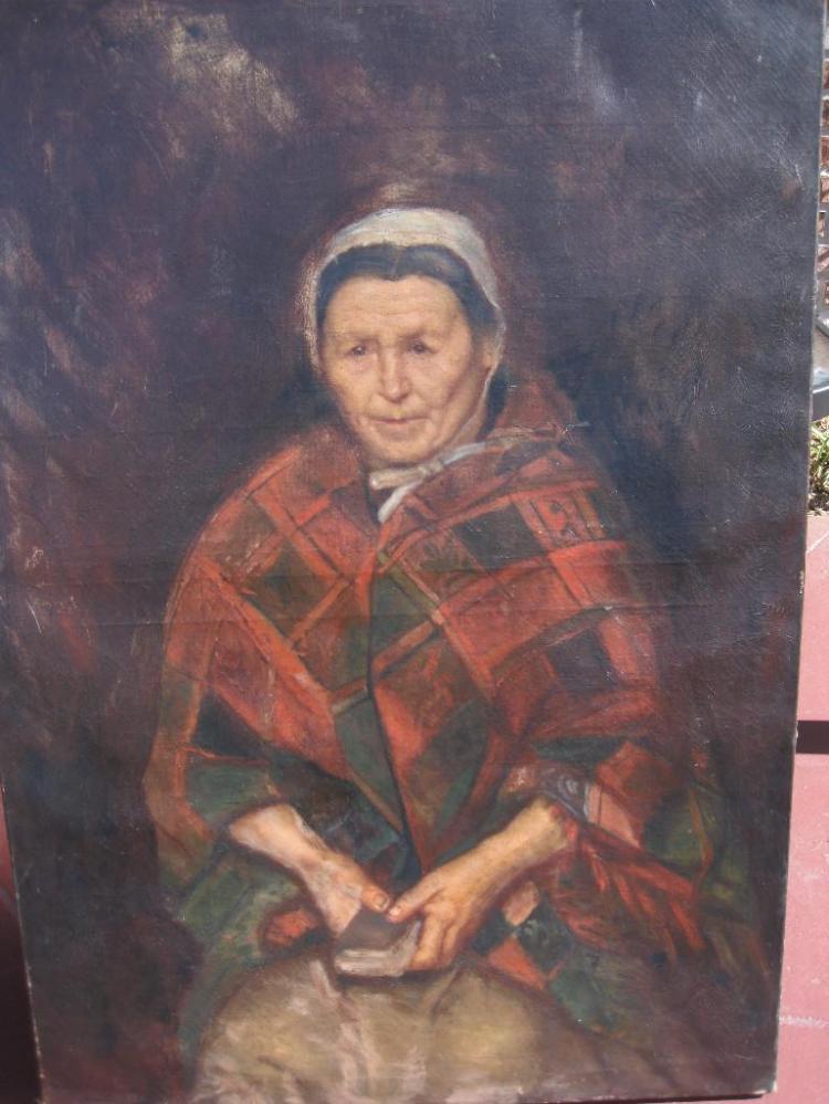 Old woman portrait, Wilhelm Leibl(?), 19th c