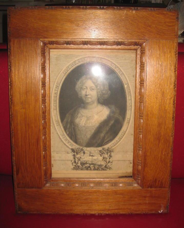 Antique engraving Duchess of Guise, Paris, France, 1684