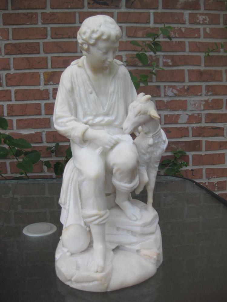 Alabaster sculpture Boy Feeding Goat, 19th-20th c, 15in