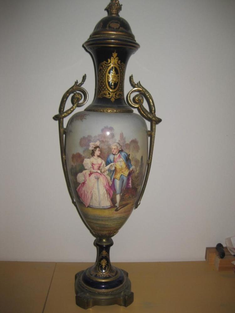 Elegant Sevres porcelain & bronze vase, 25in.=62cm