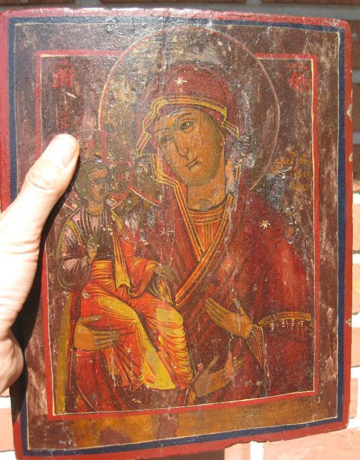 Russian Wooden Icon 18th c, Maria & Jesus child