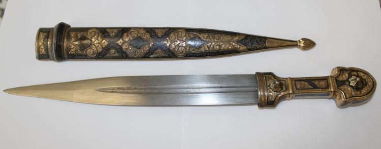 Russian Nielloed silver Caucasian 40 cm- dagger with scabbard