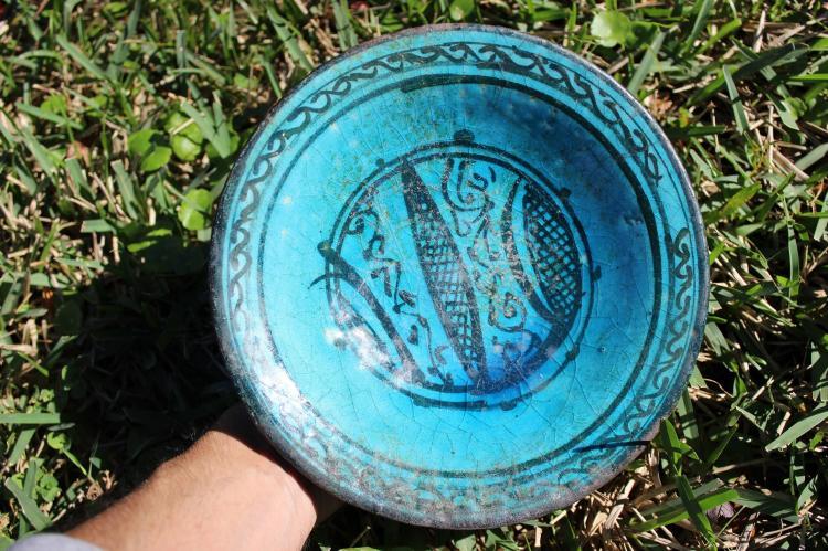 Amazing Persian Islamic Seljuk Kashan indigo glazed bowl, 1100-1200 AD