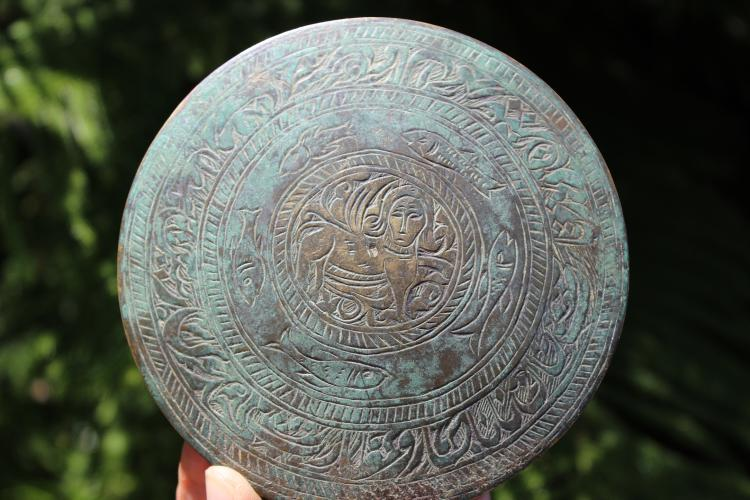 Persian, Islamic(?) bronze plate-mirror with Sphinx & 5 fish, 1000 BC-1000 AD