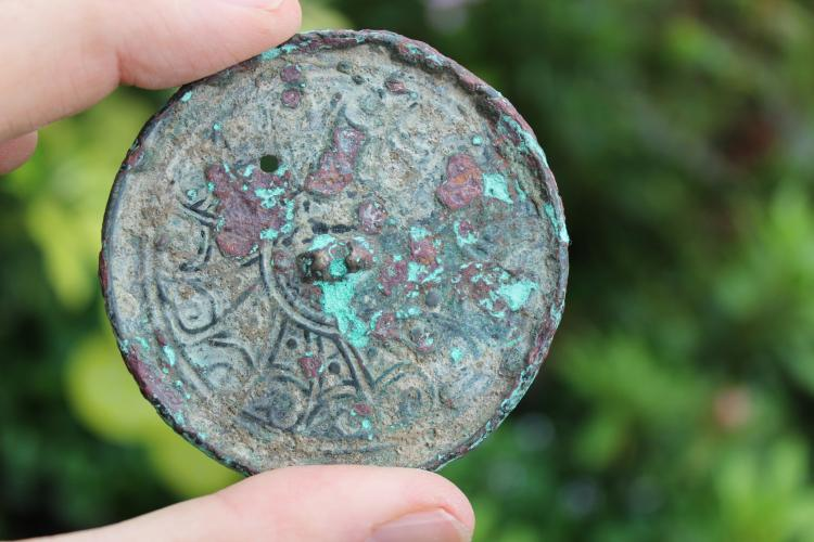 Genuine Islamic Persian bronze mirror, 8 cm, circa 1000-1100 AD, Afghanistan
