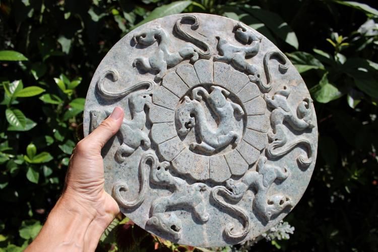 Antique Chinese large carved jade dragon disk, 33.7cm;