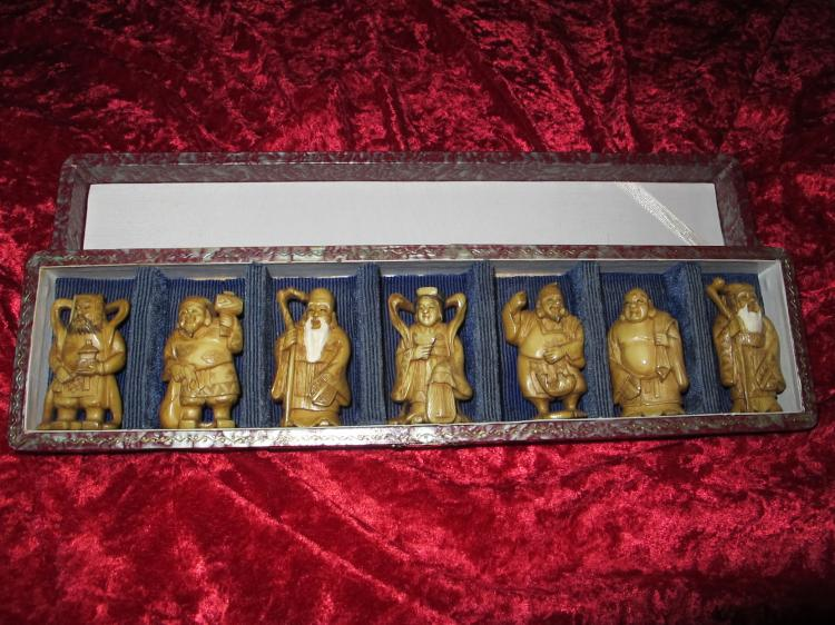 Carved bone Japanese/Chinese Seven Gods