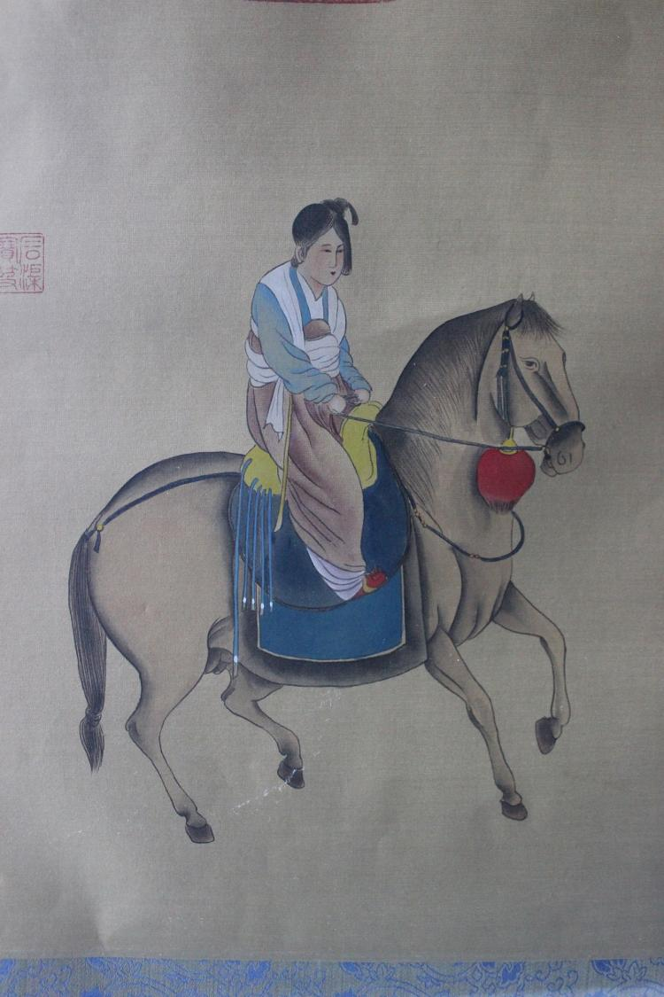 Chinese silk framed painting of a Chinese girl on a horse, Qing Dynasty, Qianlong period(?)