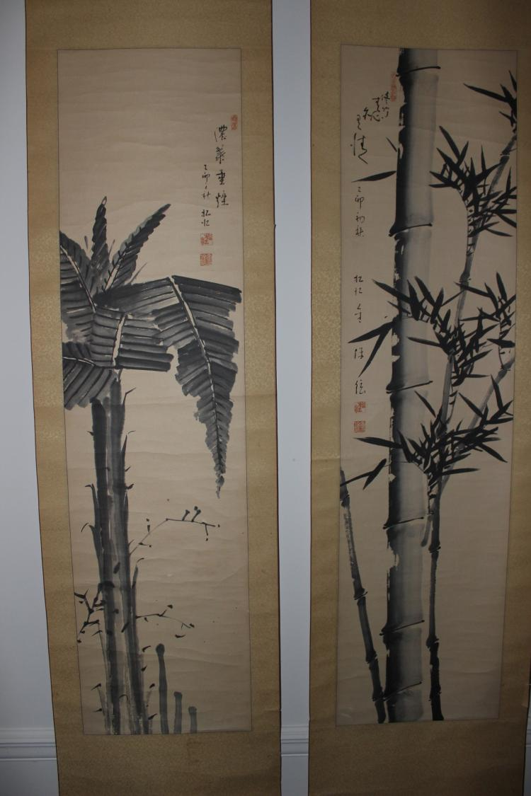 Pair of antique Chinese scrolls paintings on paper: Bamboo and Palm tree