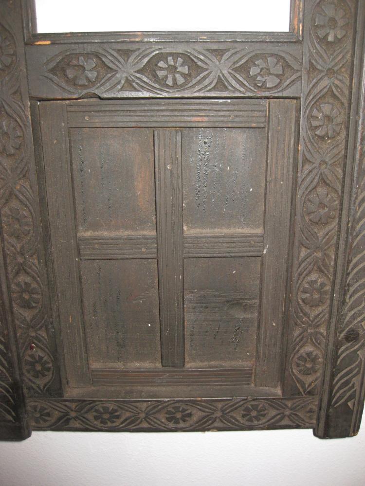 Afghani antique black carved wood window, Nuristan, Afghanistan