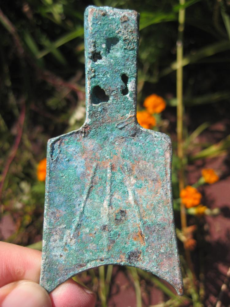 Chinese Hollow handled sloping shoulder spade bronze coin 400-300 BC