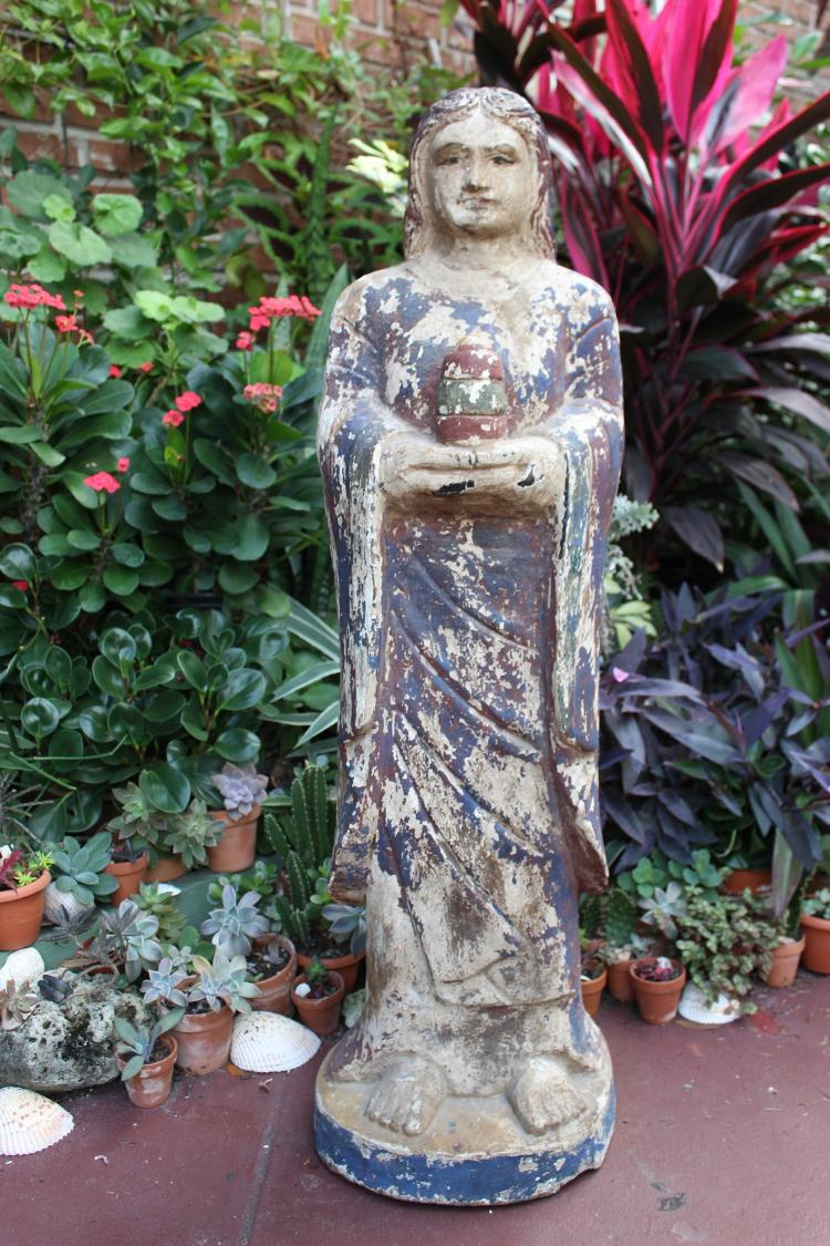 Antique carved, 40 inches, wooden statue of Spanish Saint –Santo(s), circa 1700-1850