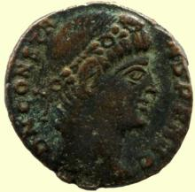 Roman coin, Ihnasyah Hoard, Constans 337AD, Nicomedia, 11754