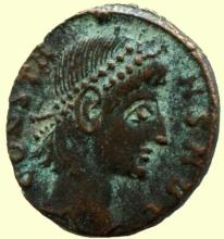 Roman bronze coin, Ihnasyah Hoard, Constans, Nicomedia, 11713