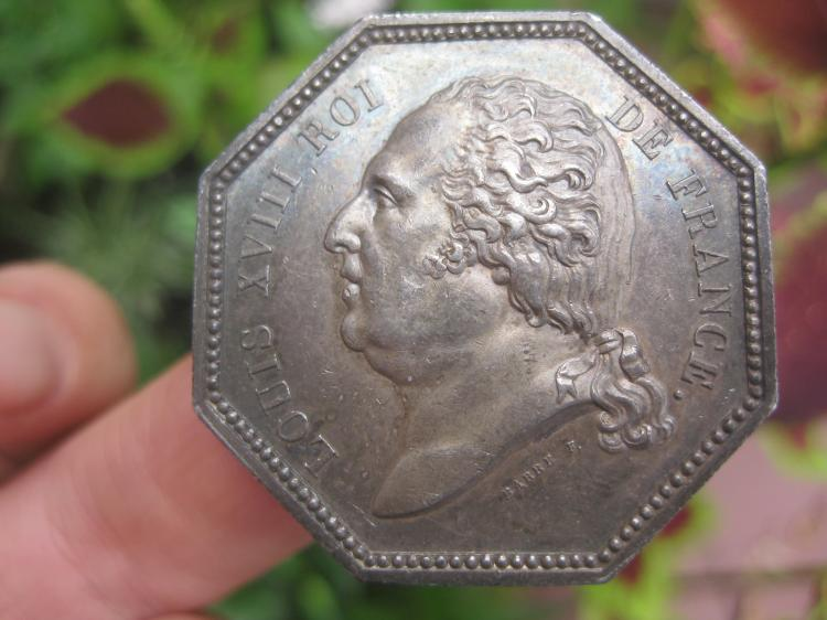 French silver medal Louis XVIII, 1818, About UNC