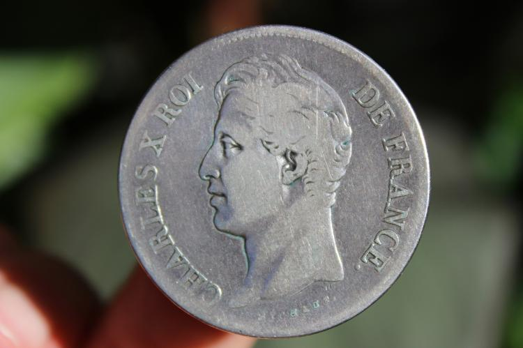 French silver coin 5 francs, Charles X, 1827