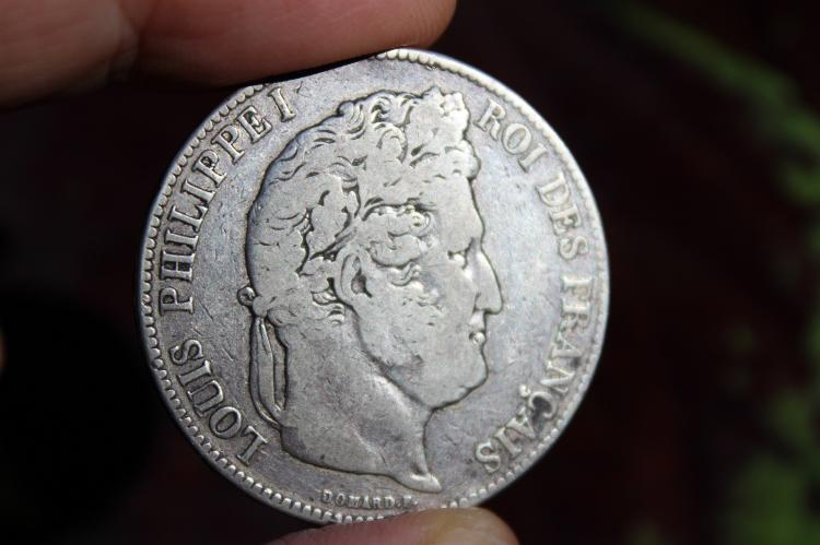 French silver 5 franc coin Louis Philippe I, 1843