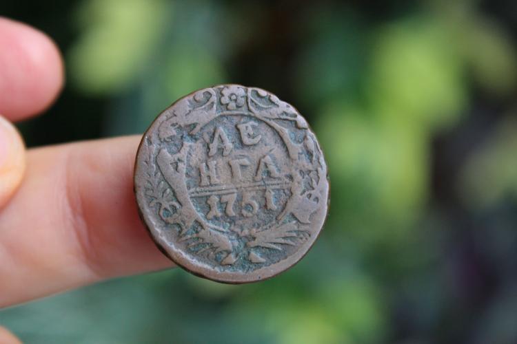 Russian copper coin Denga, 1751, Fine
