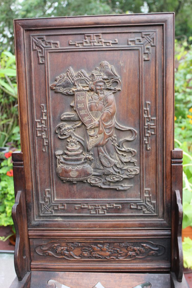 Chinese antique wooden board table screen taoist god carving for Asian furniture tampa