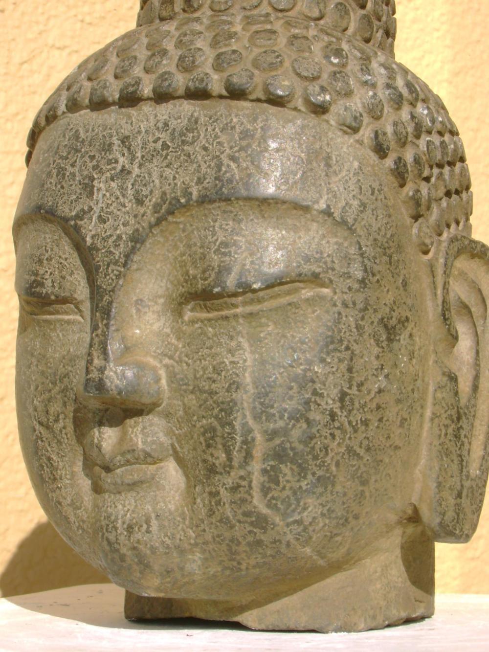大清 Masterpiece carved stone Buddha Head, Qing or earlier