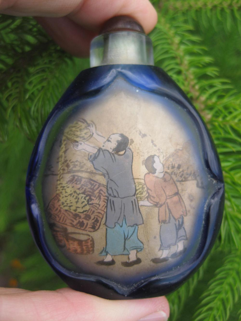 Chinese snuff blue bottle: Peasants threshing rice Qing