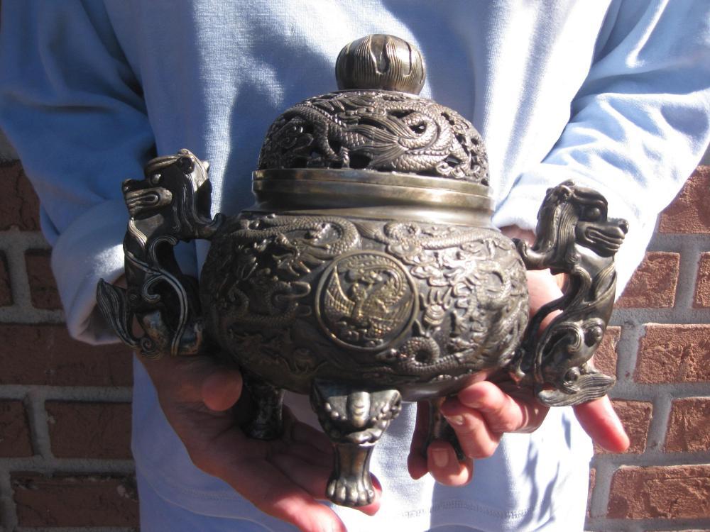 明代宣德年间 (1425-1435) White Bronze Ming Dynasty, Xuande period, Bronze Incense Burner