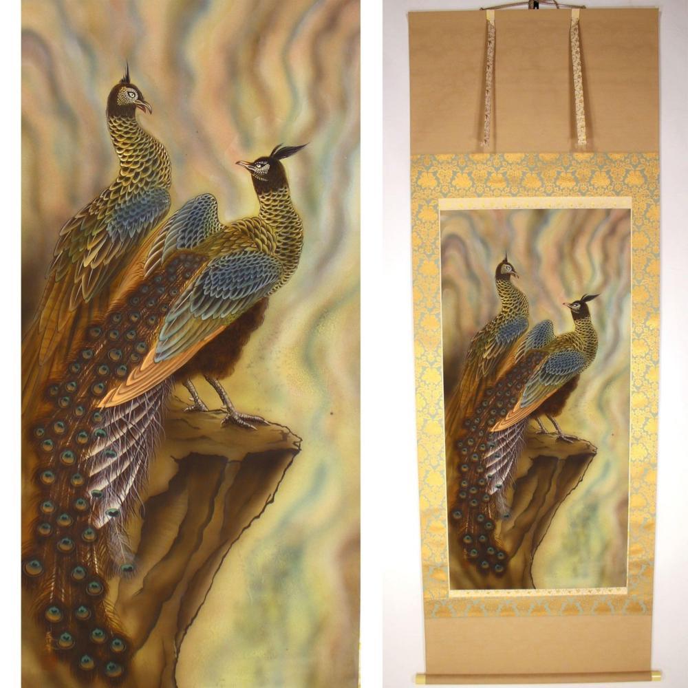 "Japanese hanging scroll Kakejiku ""Peacocks"" painting by Shunpou"