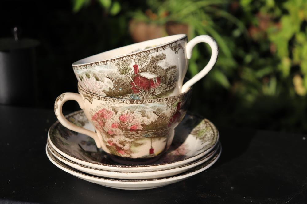 English porcelain tea set: 2 cups & 3 saucers, made by The Friendly Village, Johnson brothers, England