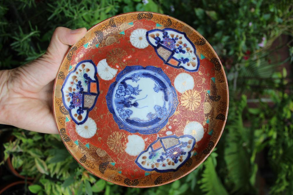 Perfectly imperfect museum Japanese Imari porcelain plate, circa 1800-1867