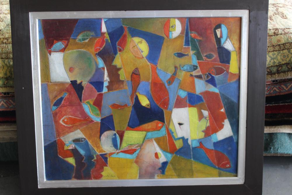 "#2 Cubism, Menachem Helholz-Or ""Figures and many fish"", circa 1950s"