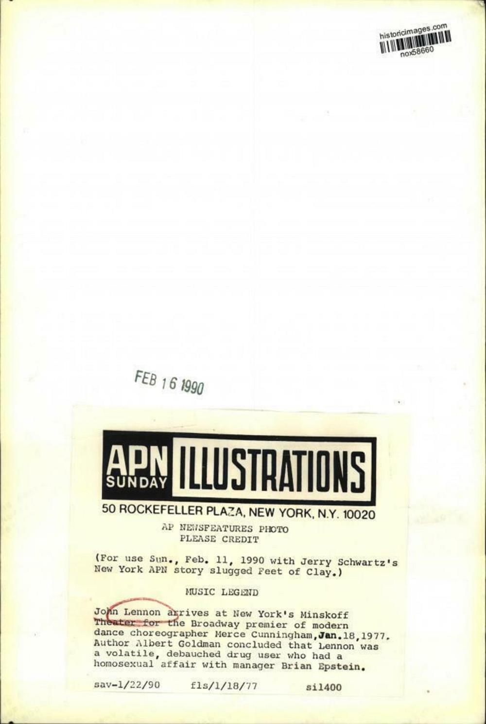 1977 John Lennon arrives at New York's Minskoff Theater – press photo