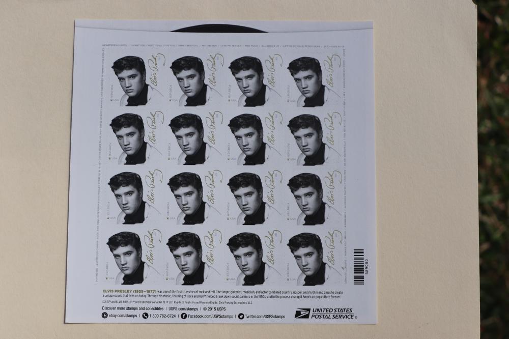Elvis Presley 16 FOREVER postal stamps block, USPS, USA 2017