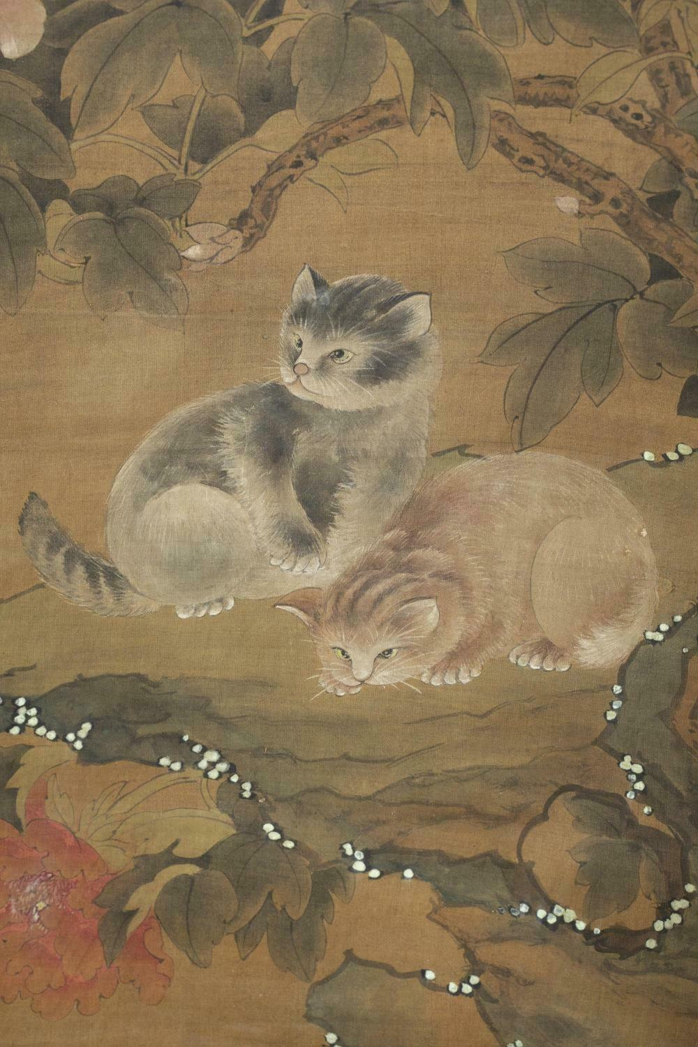 Pair of cats and butterflies by Lu Chuan, Qing Dynasty. Chinese antique silk scroll painting