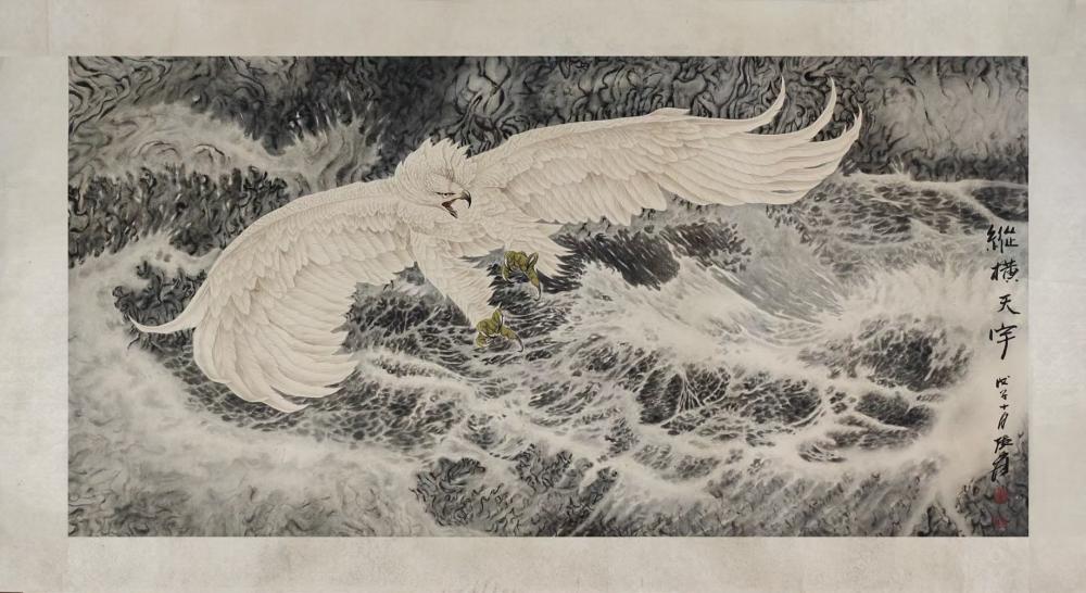 """张大千 雄鹰图镜片 """"Magnificent Eagle"""", attributed to Zhang Daqian, Chinese scroll painting"""