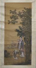 "清 费丹旭 人物图立轴 绢画 attributed to Fei Danxu (1801-1850) ""Human Story"", Chinese silk scroll painting"