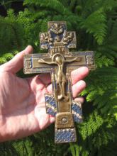 Genuine Russian bronze cross with blue enamel, 18th cen