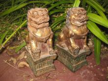Chinese Gilded Iron pair of Foo Dogs, Ming/Qing dynasty or earlier