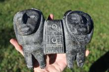 Mysterious carved stone double humanoid statue from Central or South America