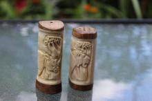 Carved Ivory Salt & Pepper set